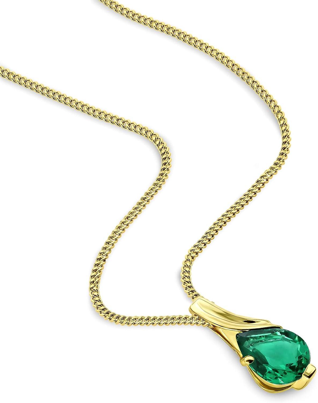 Bijoux longueur 45 cm Miore Collier pour Femmes Collier avec Pendentif Pierre Pr/écieuse forme poire Cha/îne en Or Blanc//Jaune 9 Carat //375 Or