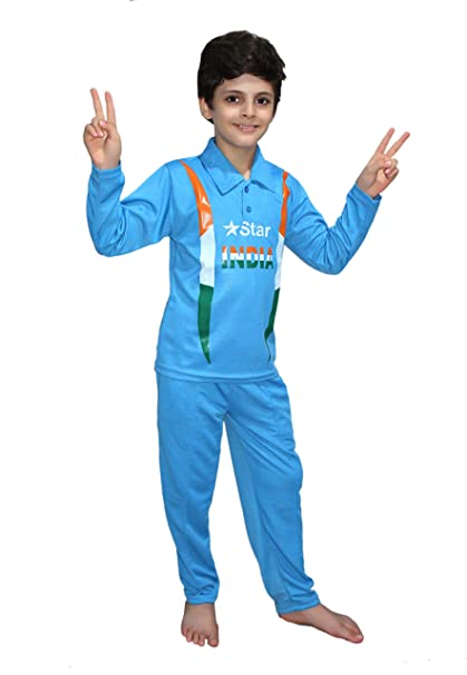 ff7da98ae Buy KAKU FANCY DRESSES Kids India Cricket Team National Hero Costume for  Independence Day/Republic Day/Annual Function/Theme Party/Competition/Stage  Shows ...
