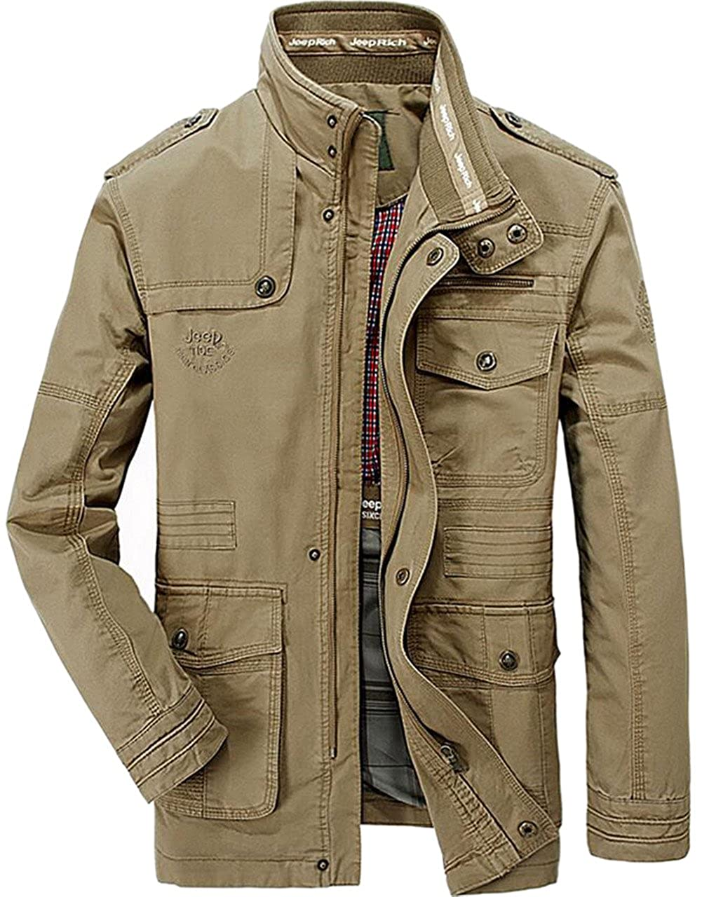 JEWOSOR Men's Cotton Military Tactical Outwear Bomber Jacket Coats Tops Large Size