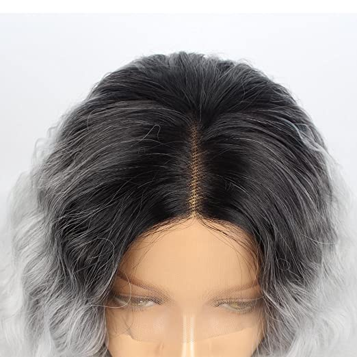 Amazon.com : Stylistlee 250% Density 2 Tone Wigs for Women Ombre Gray Synthetic Lace Front Wigs Black Grey Replacement Hair Wigs Curly Wigs For Women Heat ...