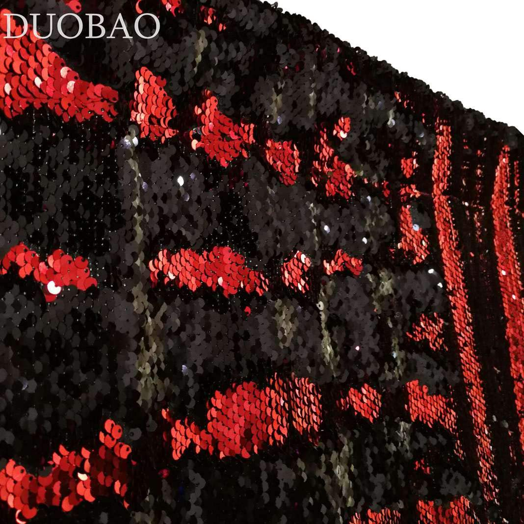 DUOBAO Sequin Backdrop 20FTx10FT Red to Black Glitter Backdrop Curtain Mermaid Reversible Sequin Curtains Beautiful Background