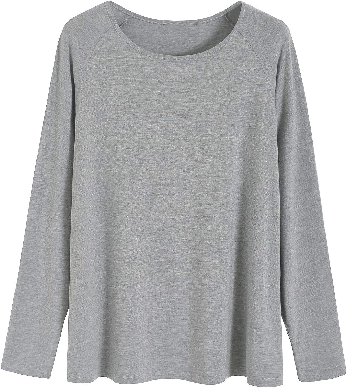 Latuza Womens Bamboo Viscose Sleep T-Shirt V-Neck Pajamas Top