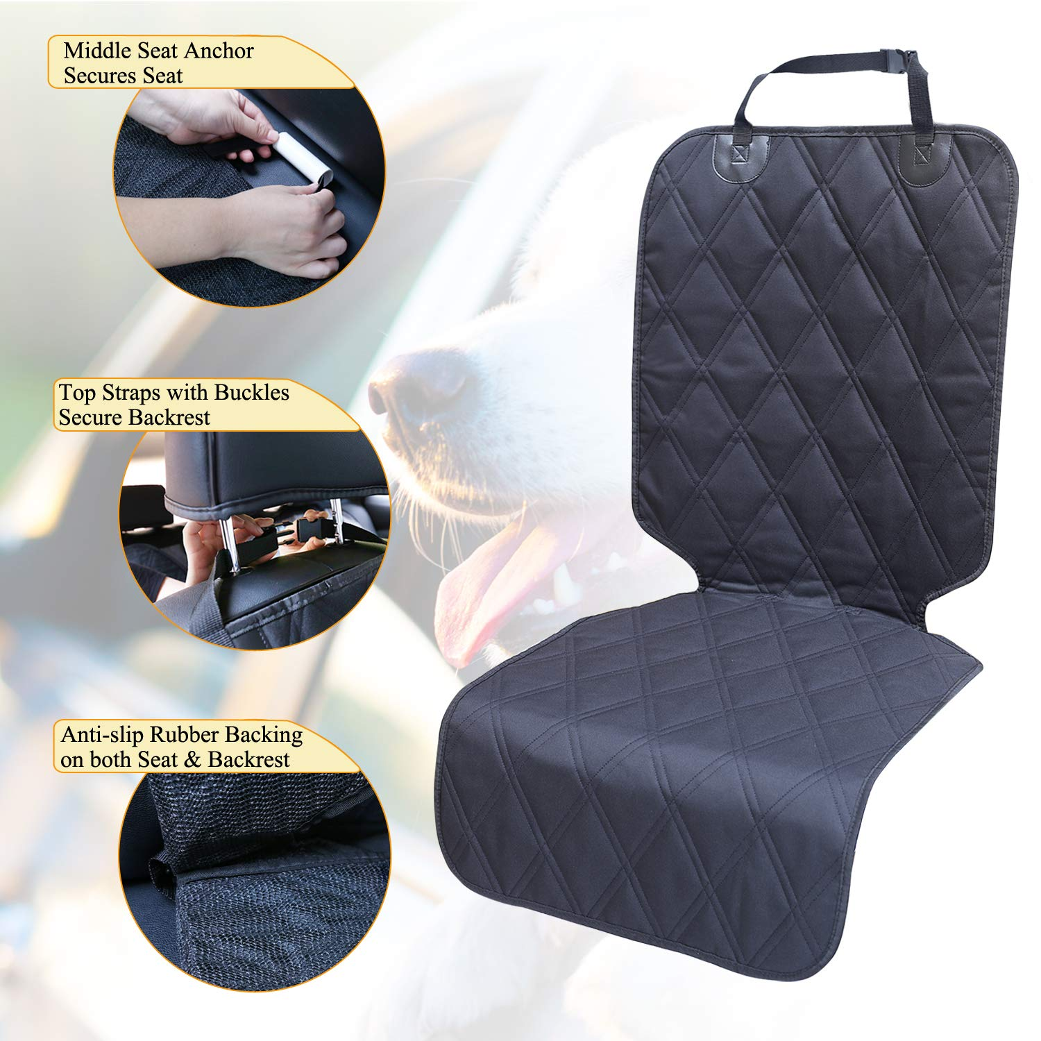 Vivaglory Dog Car Seat Protectors Quilted 600D Oxford Pet Seat Cover S SUVs /& MPVs Grey No-skirt Design Car Seats Covers for Small /& Large Cars