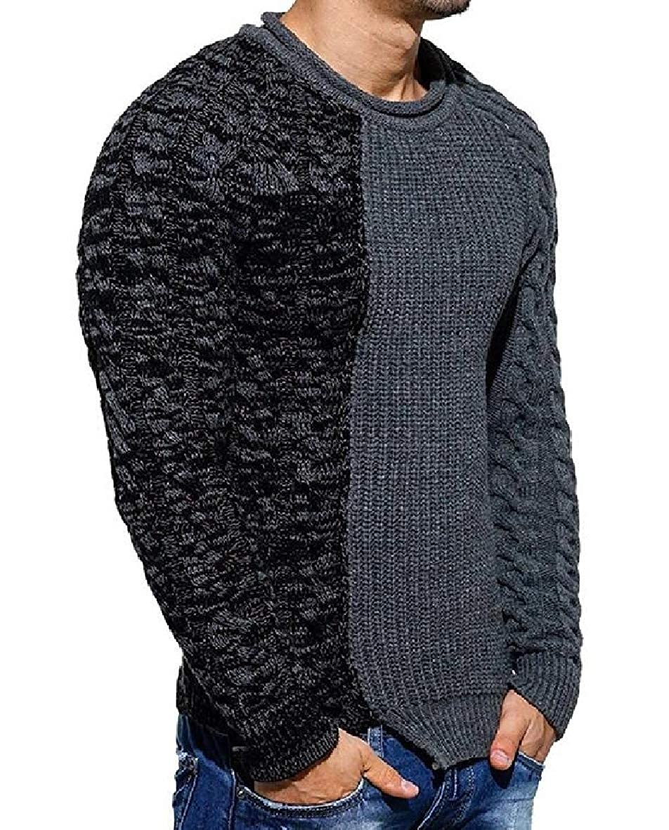Tootless-Men Jersey Raglan Sleeve Crewneck Pullover Knitted Spell Color Sweaters