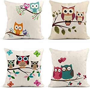 ArtSocket Set of 4 Throw Pillow Covers Blue Owl Cute in Two Tree Family on Butterflies Love Decor Linen Pillow Cases Home Decorative Square 18x18 Inches Pillowcases