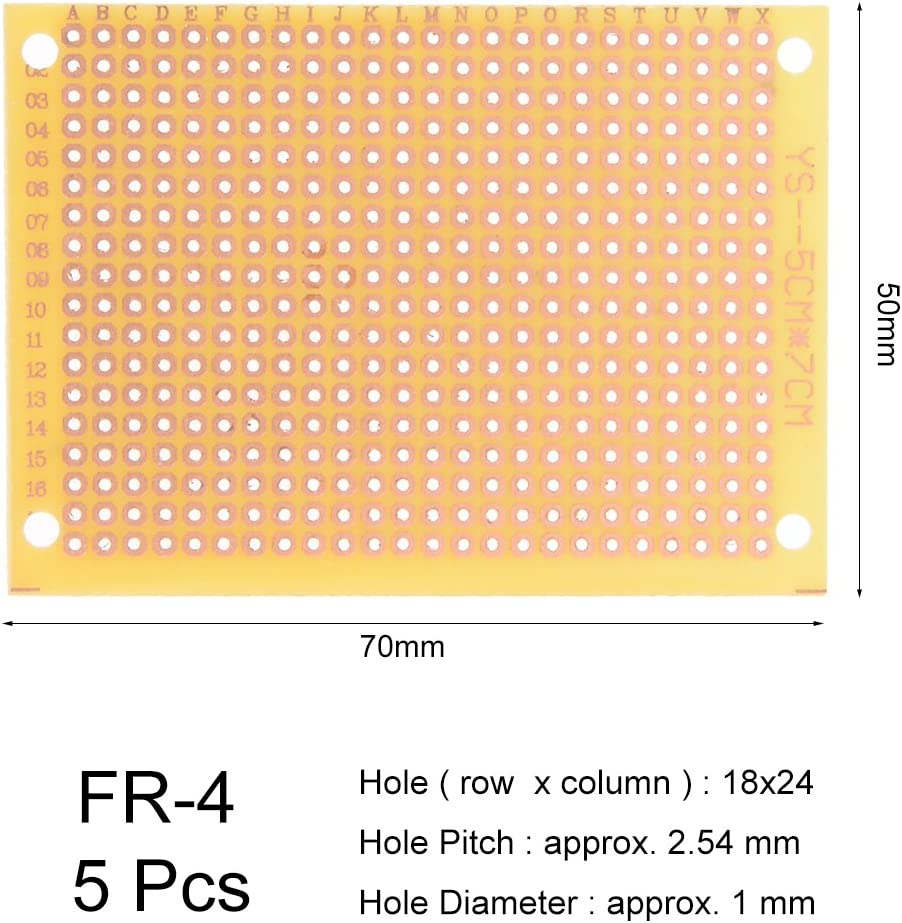 uxcell 5x7cm Single Sided Universal Printed Circuit Board Coppered FR-4 for DIY Soldering Yellow 5pcs