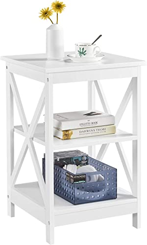 YAHEETECH 3 Tier X-Shaped Nightstands Bedside End Table Storage Cabinet w/Two Open Shelves and Enough Space