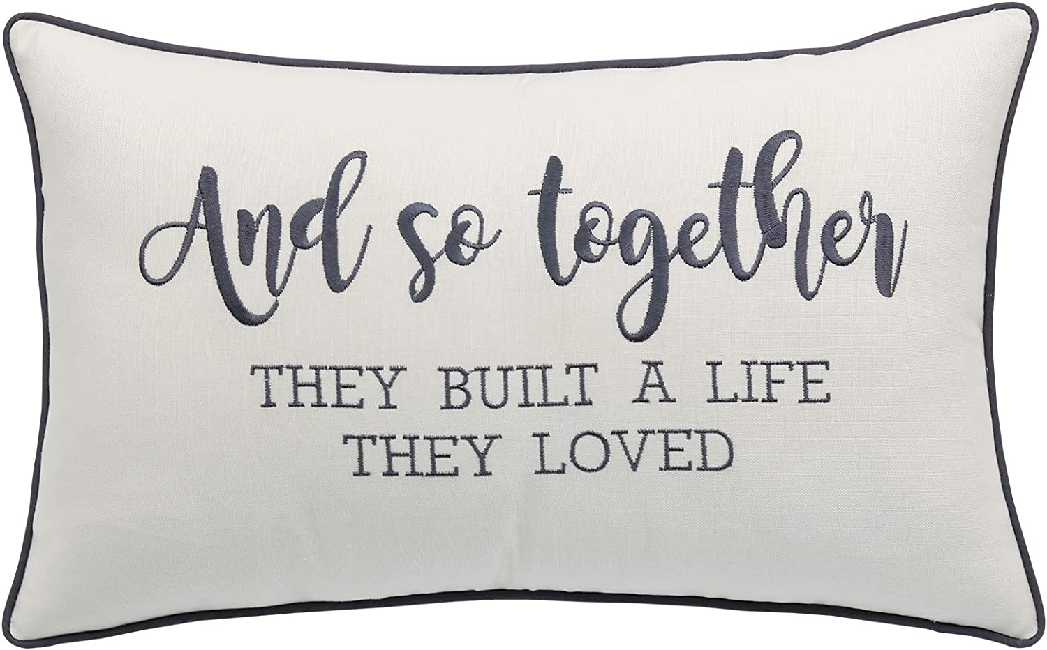 YugTex and So Together They Built A Life They Loved Cotton Embroidered Lumbar Accent Pillowcase - 12x20 Inches, Ivory-Grey