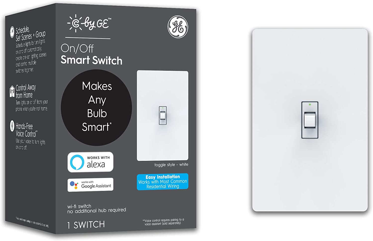 C by GE On/Off 3-Wire Smart Switch - Works with Alexa + Google Home Without Hub, Toggle Style Smart Switch, Single-Pole/3-Way Replacement, White