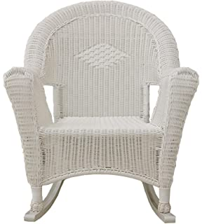 LB International White Resin Wicker Rocking Chair Patio Furniture