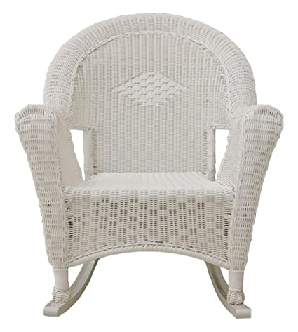 amazon com lb international white resin wicker rocking chair patio