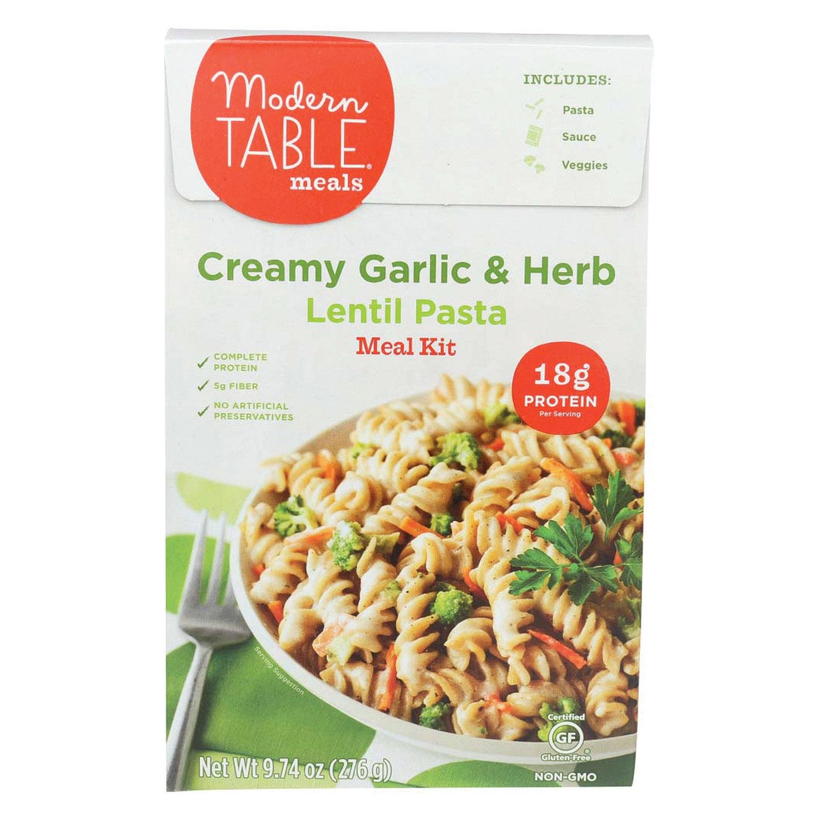 MODERN TABLE, LENTIL PASTA, MEAL KIT, CREAMY GARLIC - 9.7 Ounce, Pack of 6