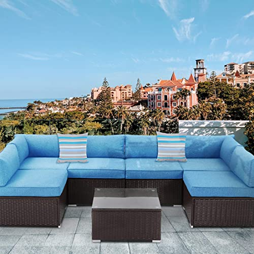 HOMPUS Outdoor 7 Pieces Patio Sofa Set