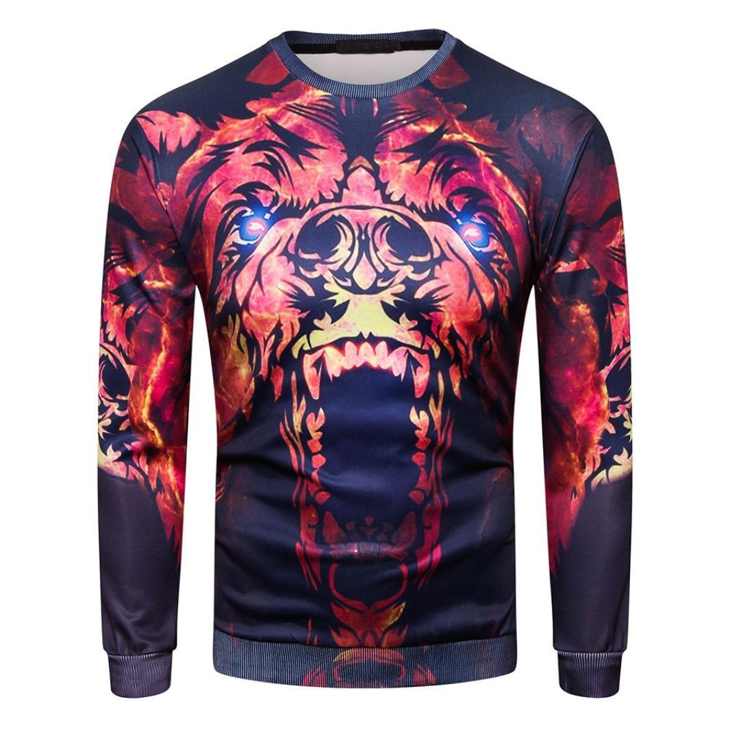 Hot Sale Mens Long Sleeve T Shirts vermers Fashion Mens O-Neck Sweatshirt 3D Printed Casual Tops(2XL, Red)
