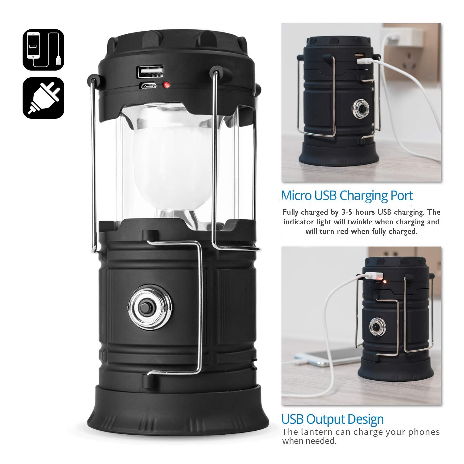 Storm Hurricanes Black 2 Collapsible /& Portable for Emergency Solar Lantern Flashlights USB Rechargeable Camping Lantern Led Power Outage