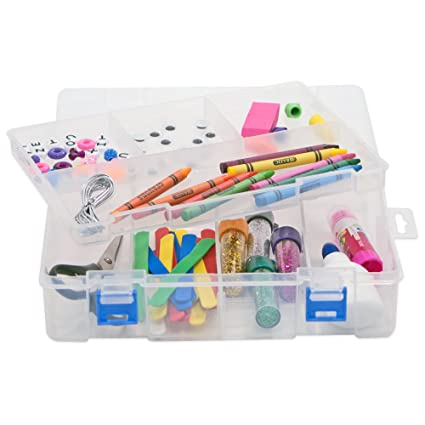 Craft Storage Organizer Box   Plastic Container With Compartments, 3  Adjustable Dividers And Lift