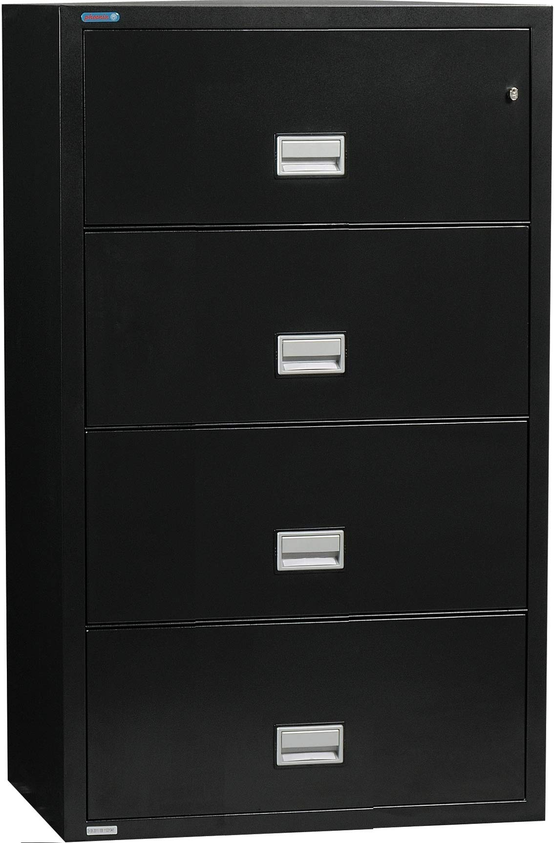 Phoenix Lateral 31 inch 4-Drawer Fireproof File Cabinet with Water Seal, Black by PHOENIX SAFE INTERNATIONAL LLC