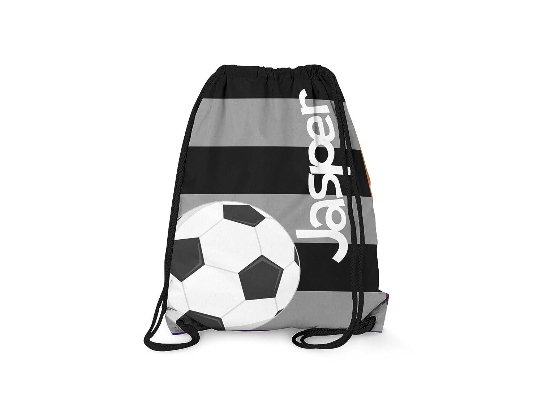 TinツリーギフトカスタマイズされたDrawstringバックパックブラックグレーサッカーPersonalizedバックパック   B01LDBZXO2