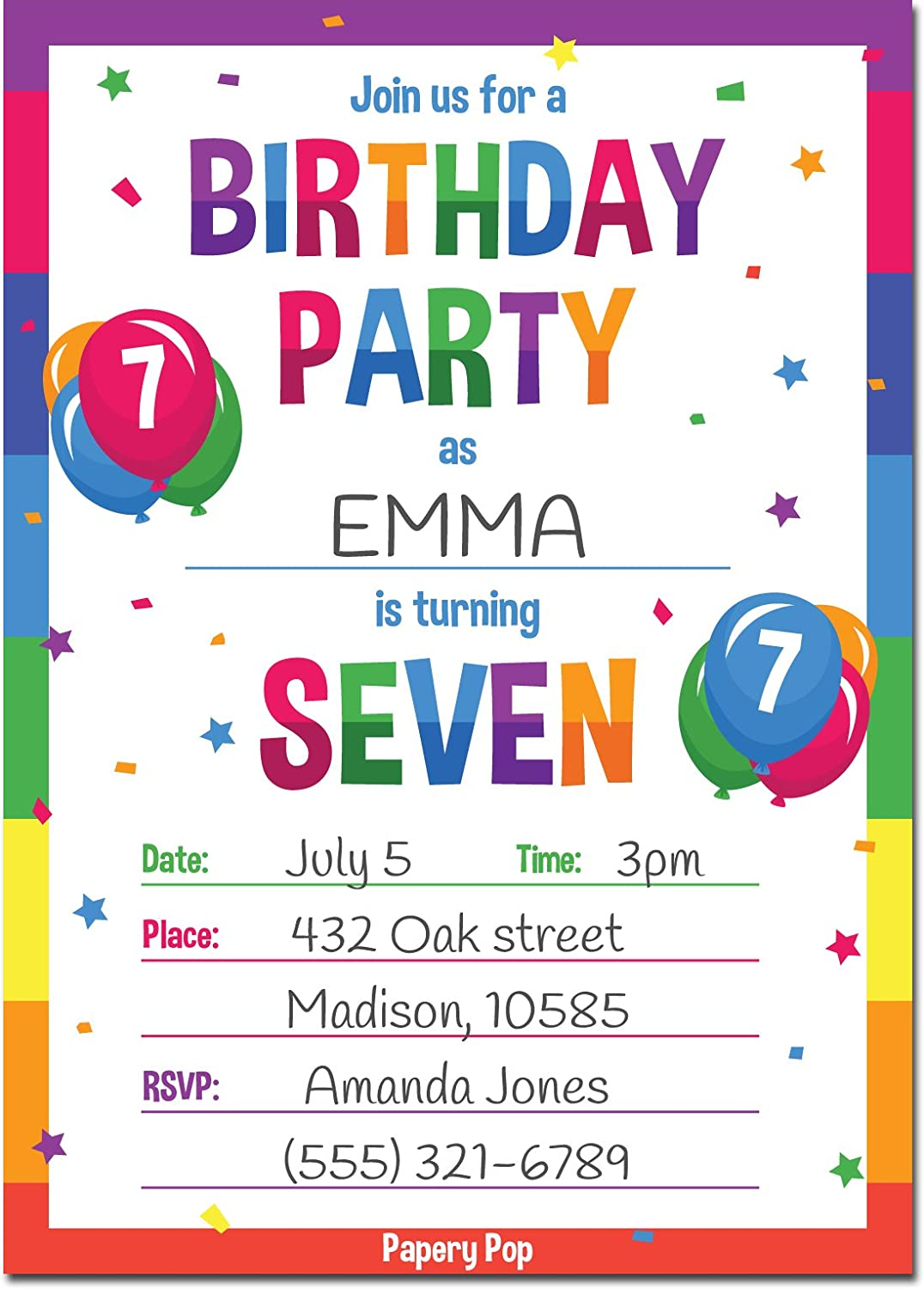 Amazon Papery Pop 7th Birthday Party Invitations With Envelopes 15 Count