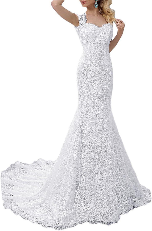 Shindress Women Mermaid Wedding Dress Long 2019 Full Lace for Bride Formal Gown SW023