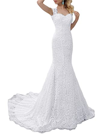 JoyVany Women s Full Lace Mermaid Wedding Dress Long 2019 Formal Gowns with  Train Ivory Size 0 fb48e21df6