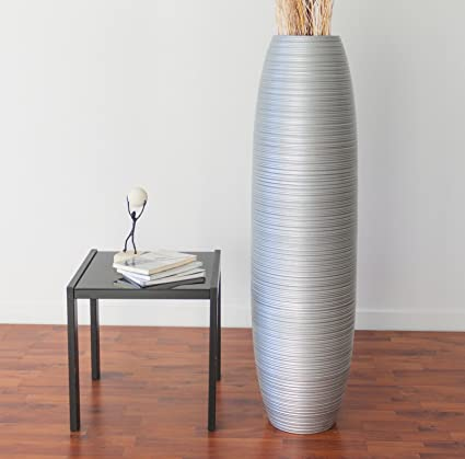 leewadee tall floor vase 44 inches wood silver - Floor Vase