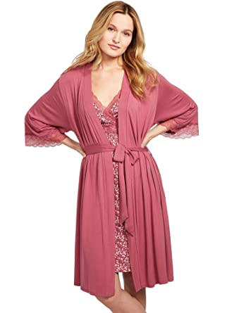 bbdb04be7d A Pea in the Pod Lace Trim Nursing Nightgown and Robe at Amazon Women s  Clothing store