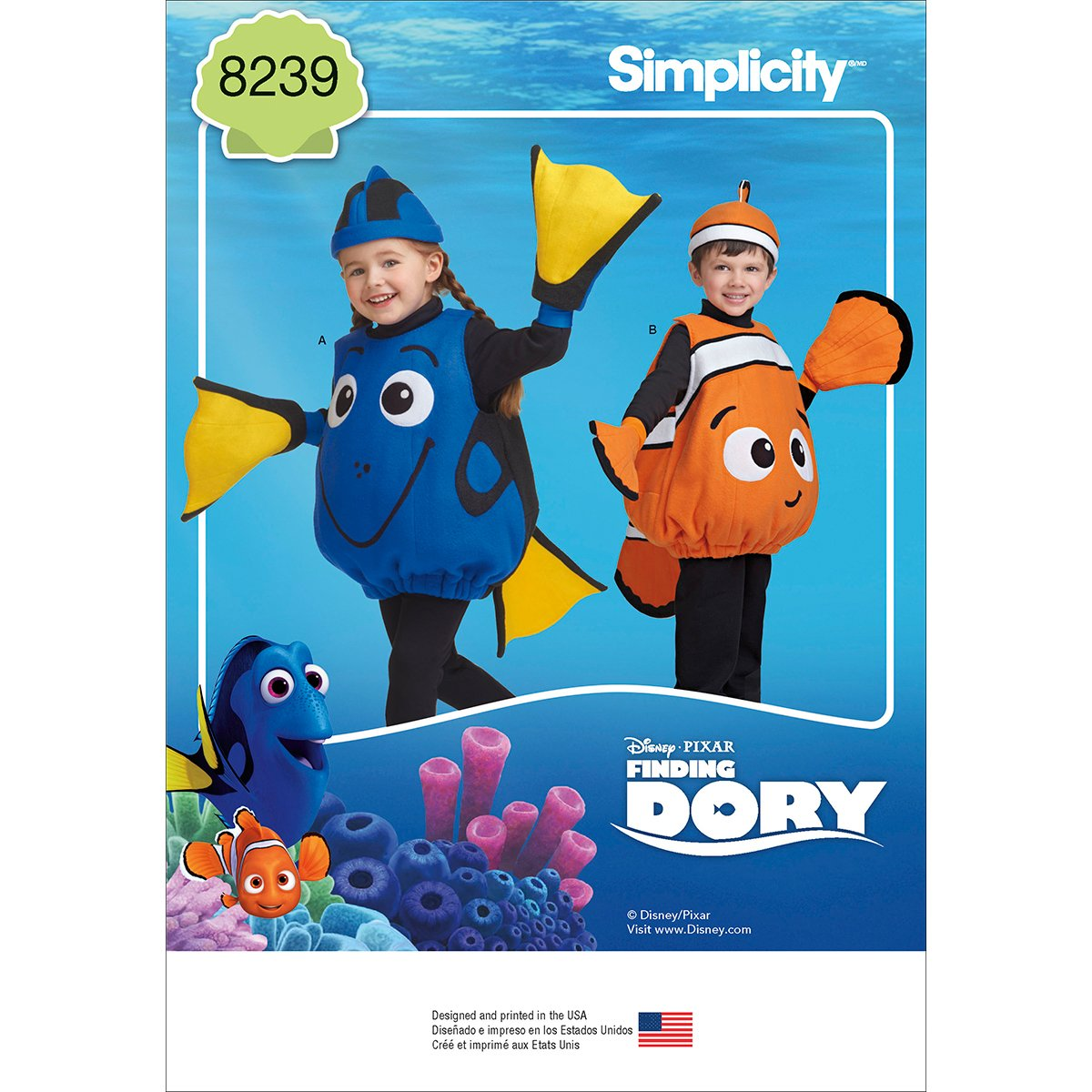 Simplicity Creative Patterns US8239A Disney Finding Dory Costumes for Toddlers OUTLOOK GROUP CORP