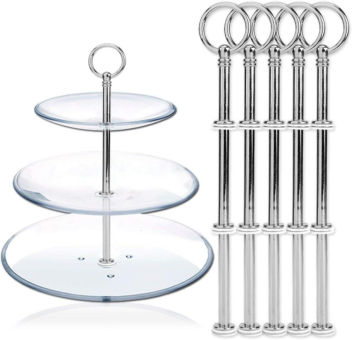 Silber Ruilasago 5 Set Rund Motive Mini Metallstange Mittellochausstech 2 bis 3 Etage Etagere f/ür Hochzeitstorte Tortenst/änder Tortenhalter Torten