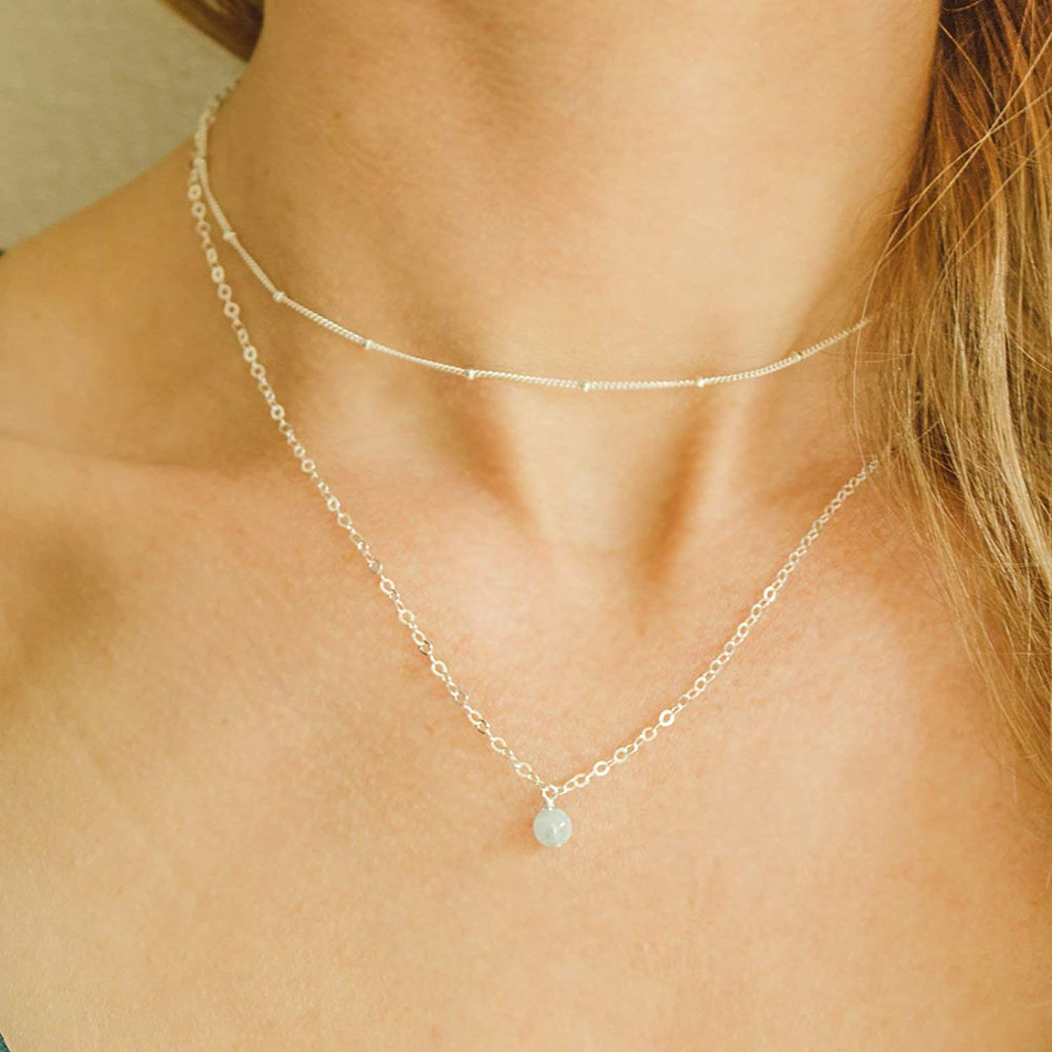 Layered aquamarine choker necklace in 925 sterling silver 12 with 2 adjustable extender March birthstone