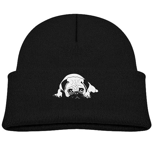 Amazon.com  Kids Funny Pug Life Beanie Hats Warm Adjustable Caps for ... c0f4d6e2a64