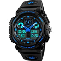 Kids Digital Sport Watch, Boys Outdoor Waterproof Analog Quartz Watch with Alarm LED Military Wristwatches for Children