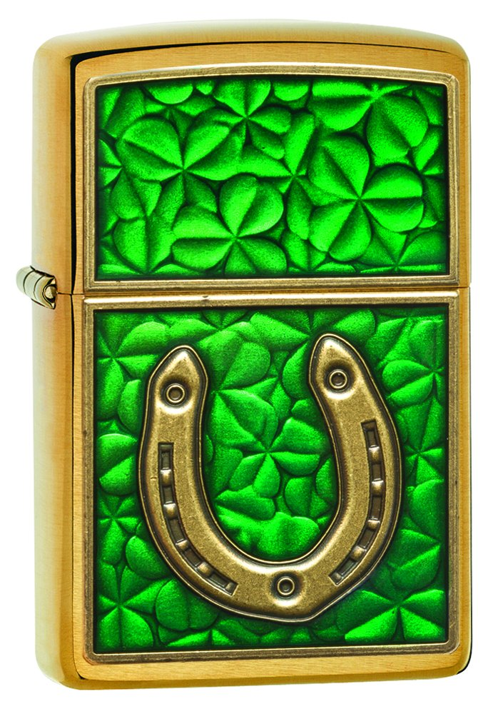 Zippo Horseshoe Clovers Brushed Brass Pocket Lighter Zippo Manufacturing Company 29243
