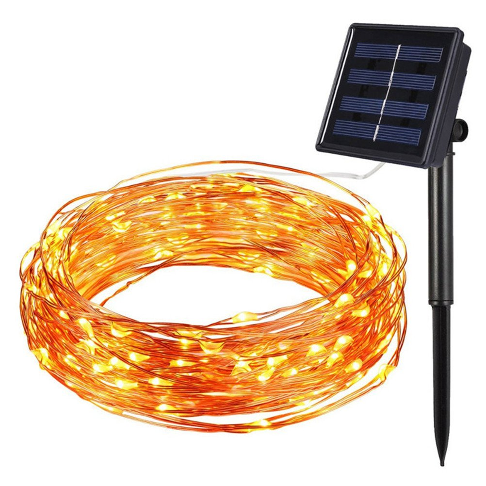LEDMOMO Solar Power String Light Copper Wire Waterproof Lights 10M 100 PCS For Chritsmas Wedding Halloween Patio Party Decorations (Warm White) by LEDMOMO (Image #4)