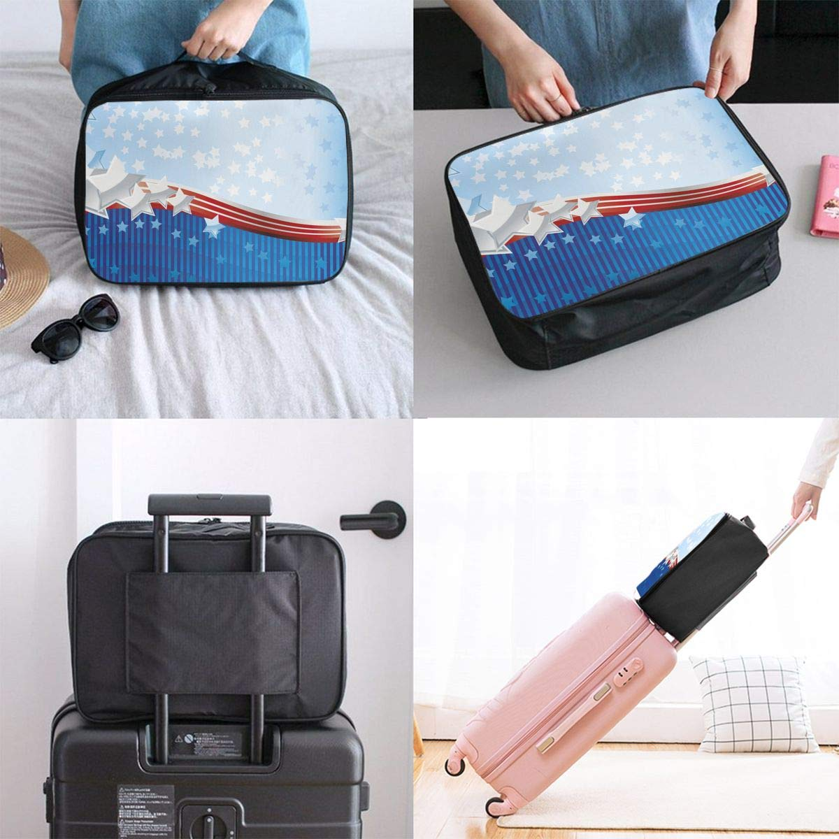 Travel Luggage Duffle Bag Lightweight Portable Handbag American Flag Large Capacity Waterproof Foldable Storage Tote
