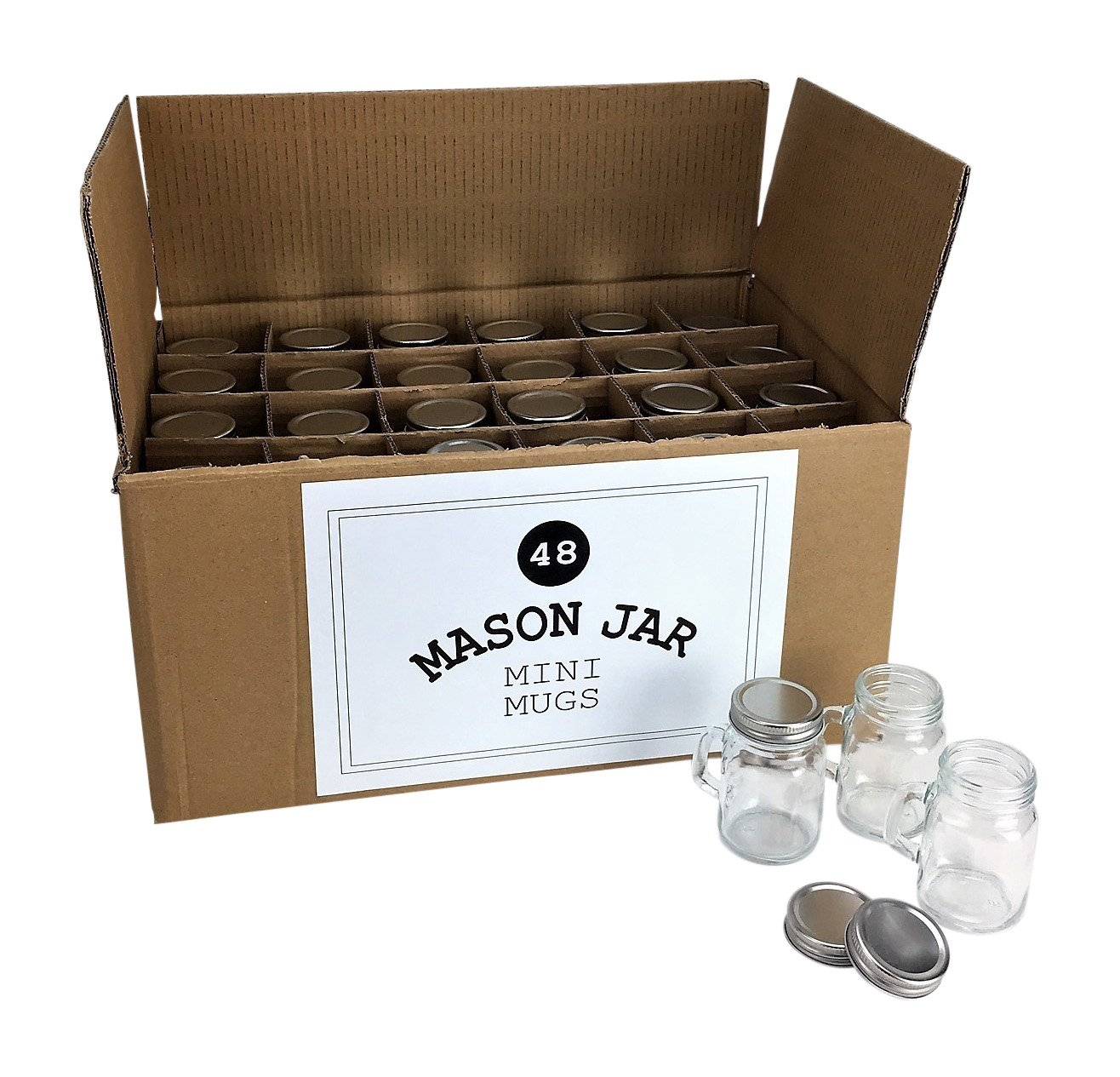 Mason Jar 4 Ounce Mugs - Set of 48 Glasses With Handles And Leak-Proof Lids - Great For Shots, Drinks, Favors, Candles And Crafts by Mason Jar Warehouse