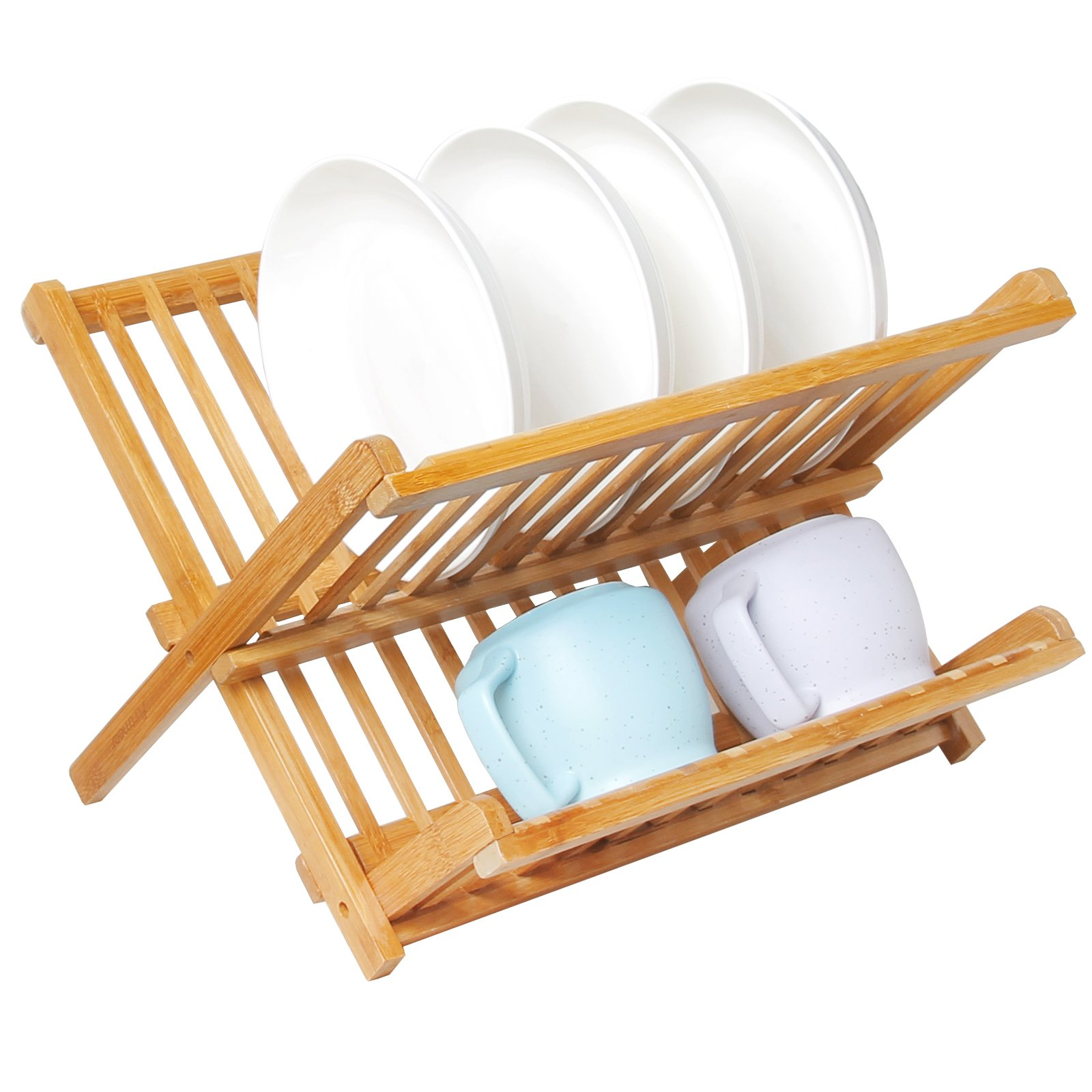 Artmeer Collapsible Bamboo Dish Rack, Holding Plate Holder, Cup Drying Strainer