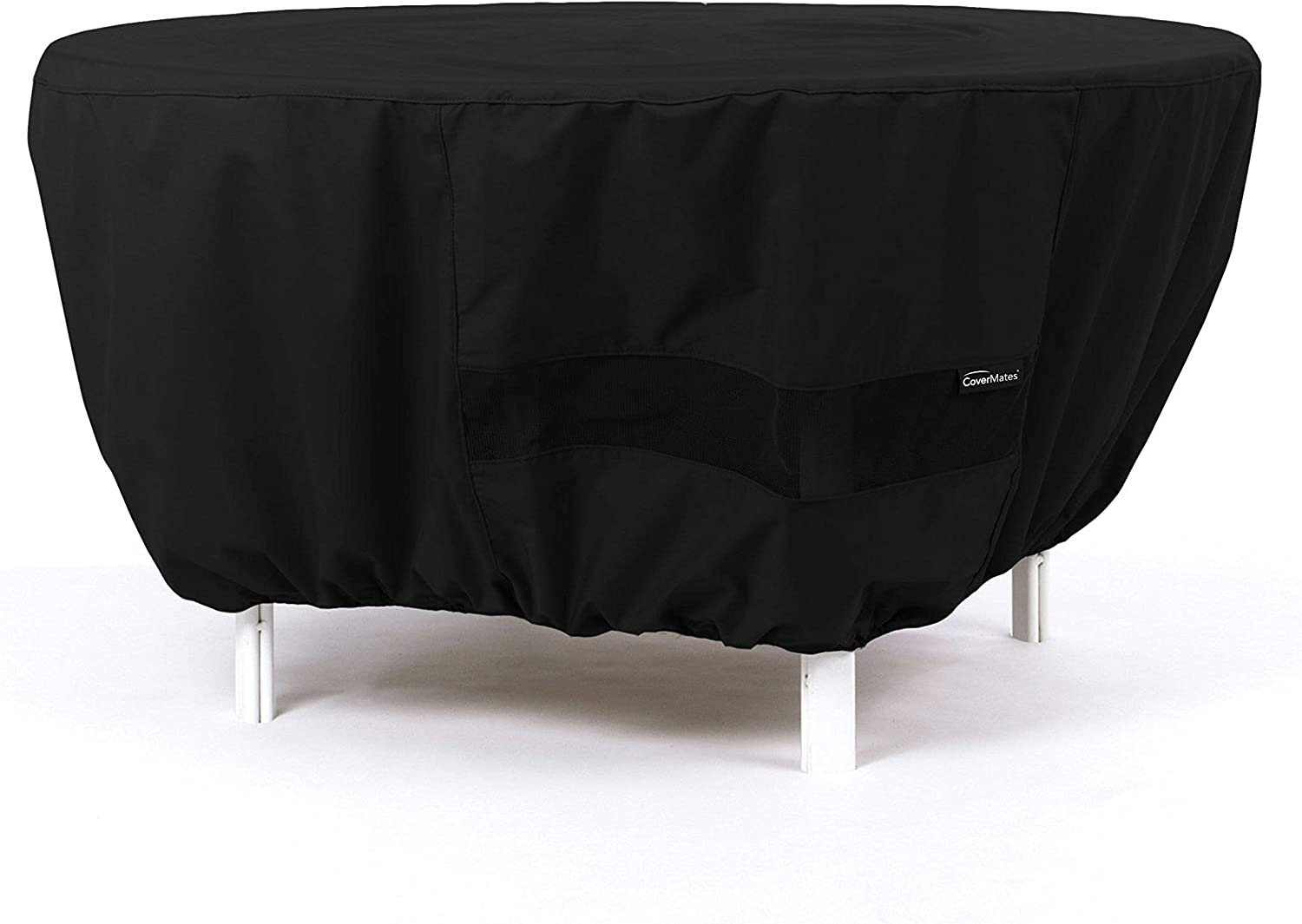 Water-Resistant Polyester Patio Table Covers Covermates Round Dining Table Cover Mesh Ventilation Black