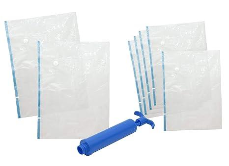 7 Piezas Bolsas de almacenaje al vacío para Ropa con Bomba para Viajes, Muy Resistente, herméticas, Reutilizable MY Vacuum-Bag TO Store Diferentes ...