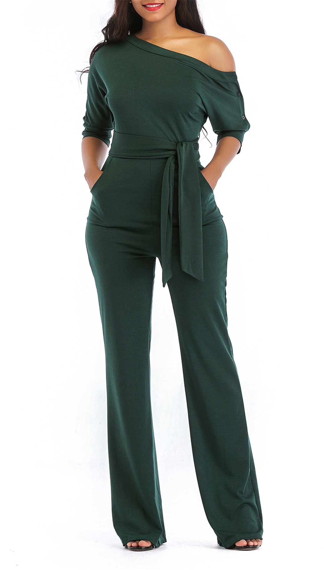 ONLYSHE Women's Sexy One Shoulder Wide Leg Boot Cut Outfit with Belt Army Green X-Large