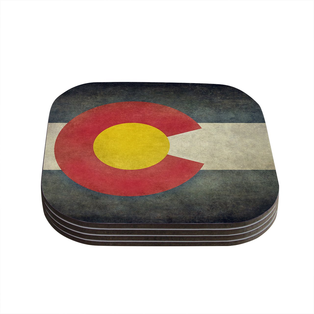 Kess InHouse Bruce Stanfield State Flag of Colorado Black Red Coasters, 4 by 4-Inch, Red/Blue, Set of 4 by Kess InHouse   B00QKHIJ64
