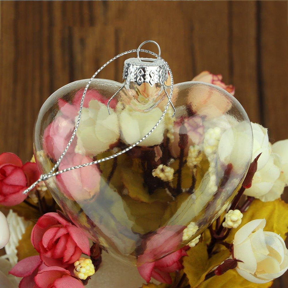 12pcs Heart Shaped Clear Glass CHRISTMAS Wedding Baubles Ornaments DIY 9cm AHG