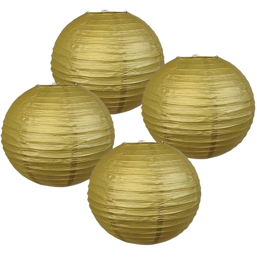 Just Artifacts 様々な紙製ランタン(色とサイズの異なる紙のランタン) 12inch AMZ-RPL4-120005 B01EGXLRTO 12inch|ゴールド ゴールド 12inch