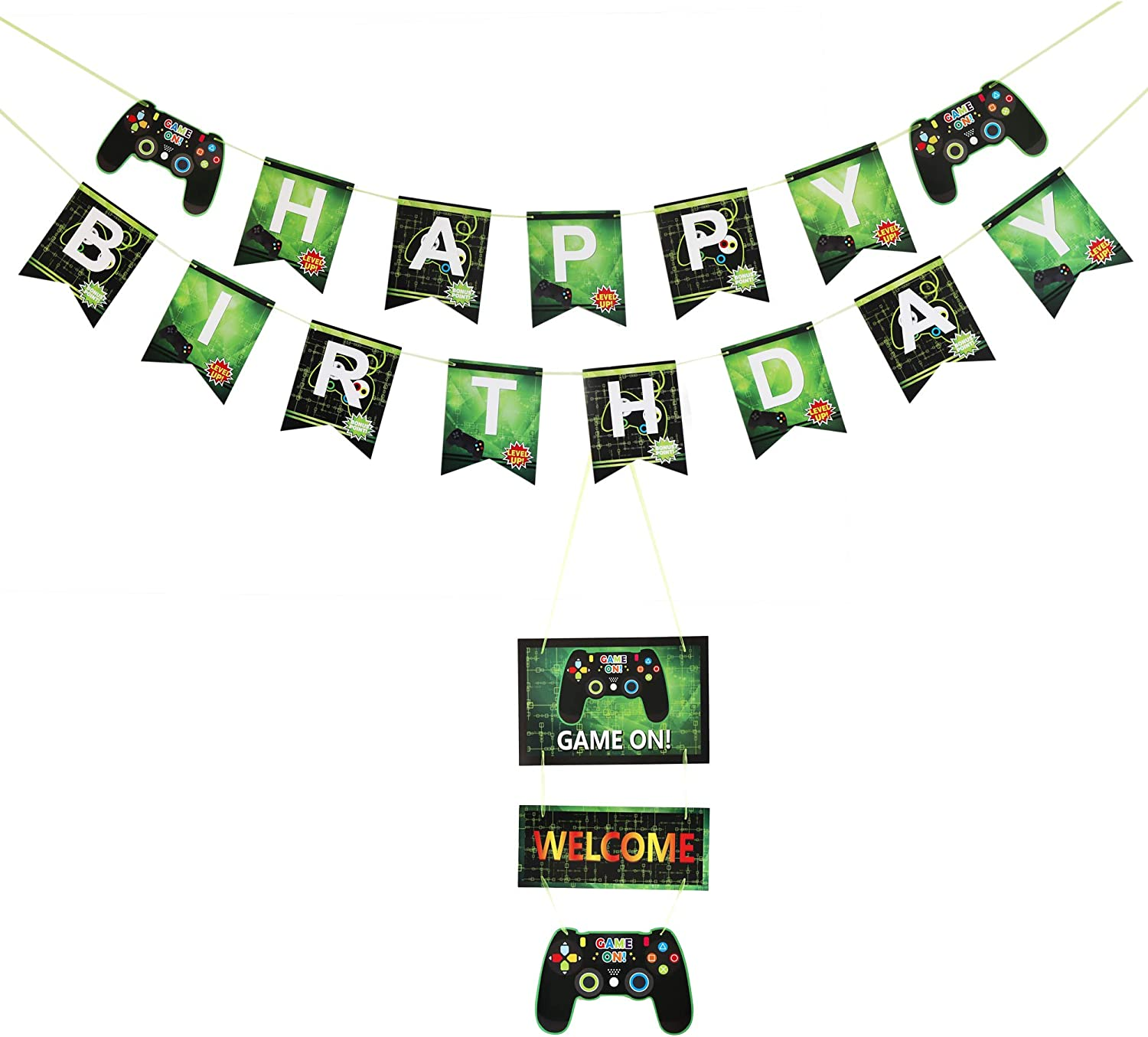 Winrase Jungle Animals Leaves Happy Birthday Banner Set Woodland Garland Forest Theme Party Decorations Cute Favors Baby or Children Birthday Party Supplies Jungle Animals