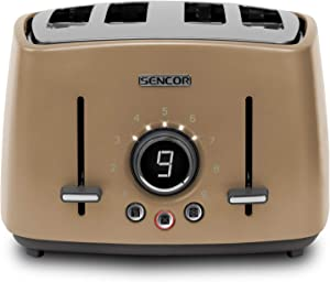 Sencor STS6077CH Premium Metallic 4-slot High Lift Toaster with Digital Button and Toaster Rack, Champagne