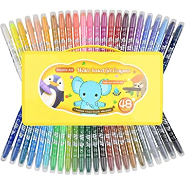 48 Colors Crayons for Toddlers, Shuttle Art Twistable Washable Gel Crayons for Kids Children and Students,Non-Toxic Crayons Set with foldable case,Ideal for Paper Glass and Mirrors