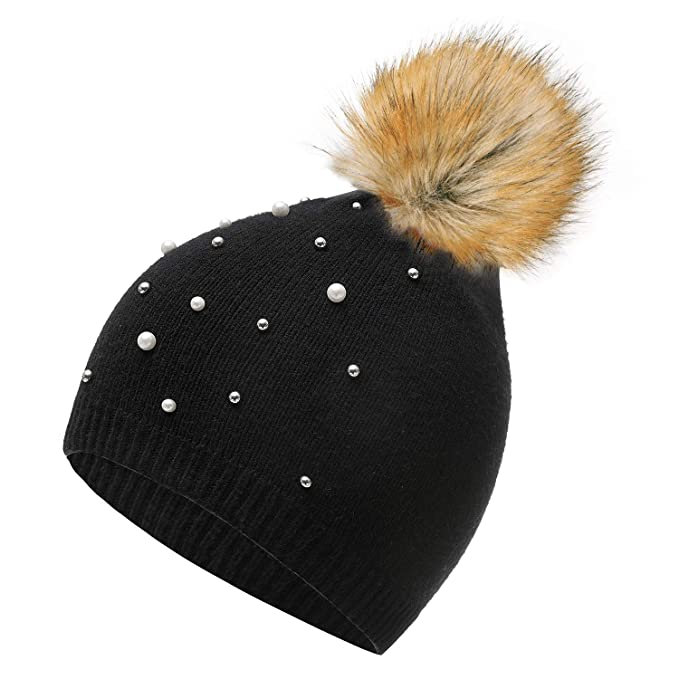 8ec13171e Womens Winter Knitted Pom Pom Beanie Skullie Hat with Decoration