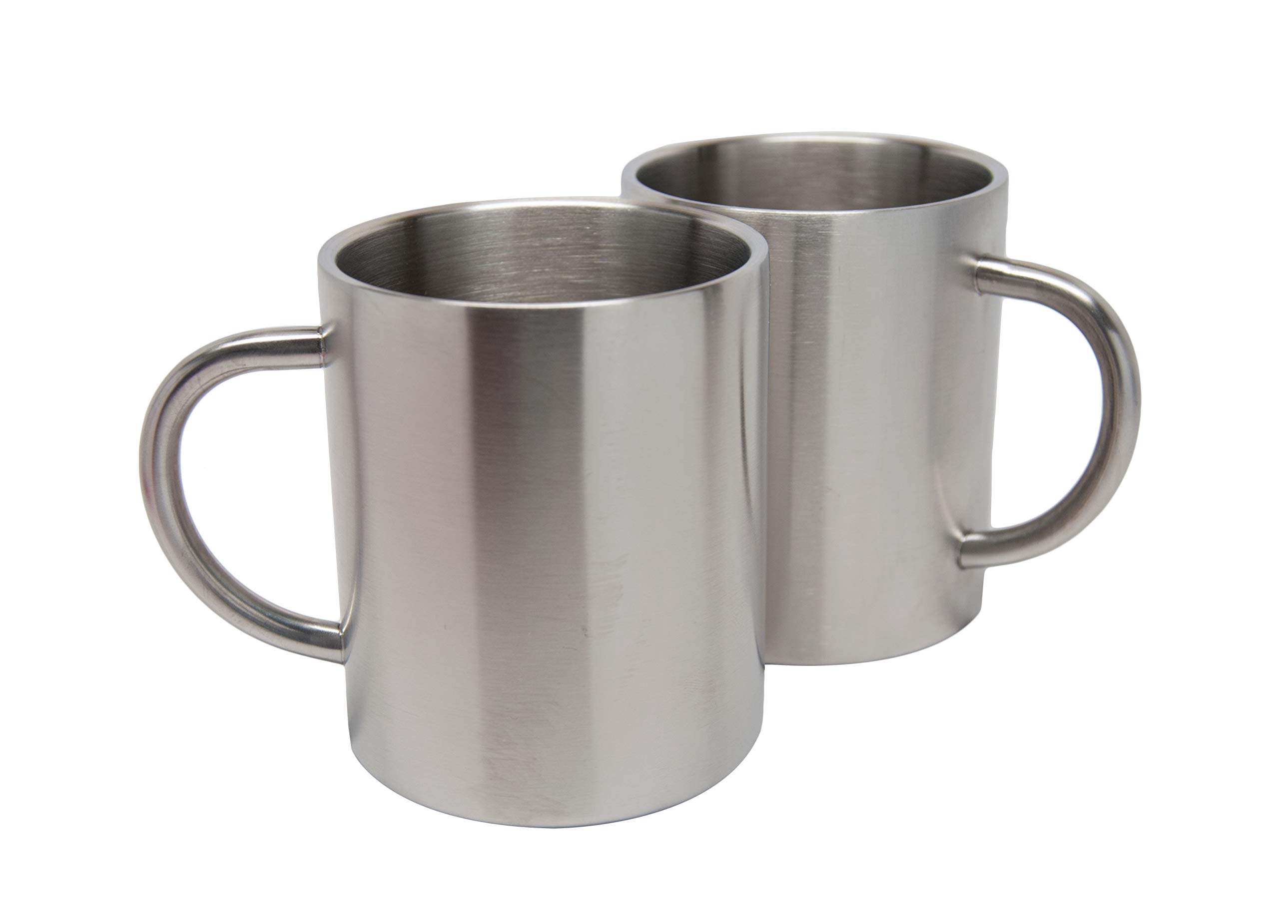 2 Pack Stainless Steel 15 Oz Double Walled Camping Cups 100% BPA Free Metal Mugs Outdoor Camp Cookware Military Surplus BBQ Hunting Accessories Bar BQ 4 Inch