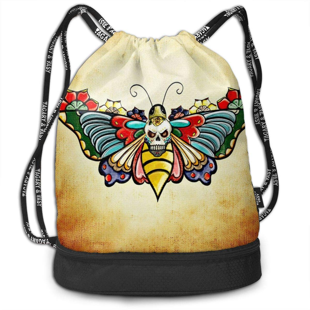 Butterfly Skull Classic Outdoor Zipper Drawstring School Sport Gym Leisure Bag Bundle Backpack Unisex And Kids Backpack