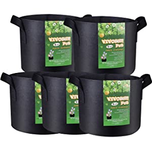 VIVOSUN 5-Pack 7 Gallon Plant Grow Bags, Premium Series Thichkened Non-Woven Aeration Fabric Pots w/Handles - Reinforced Weight Capacity & Extremely Durable (Black)
